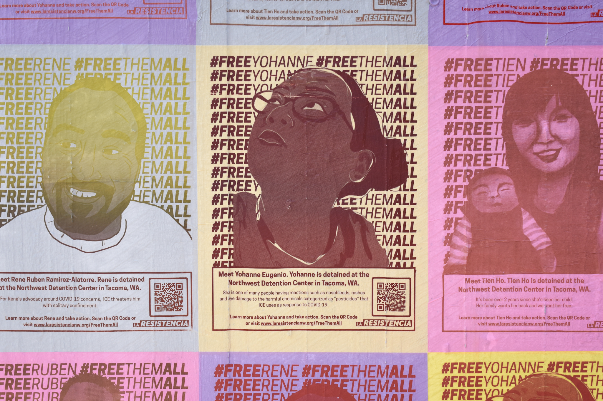 A grid of rectangular, colorful posters, each with a monochromatic illustration of a different person. Behind each portrait are two repeated columns of text. On the right, the text reads #FREETHEMALL. On the left, the text reads #FREE and the person's name, for example, #FREEYOHANNE and #FREERUBEN. Below the portraits is more text and a QR code. The text introduces the person and says that they are detained at the Northwest Detention Center in Tacoma, WA.