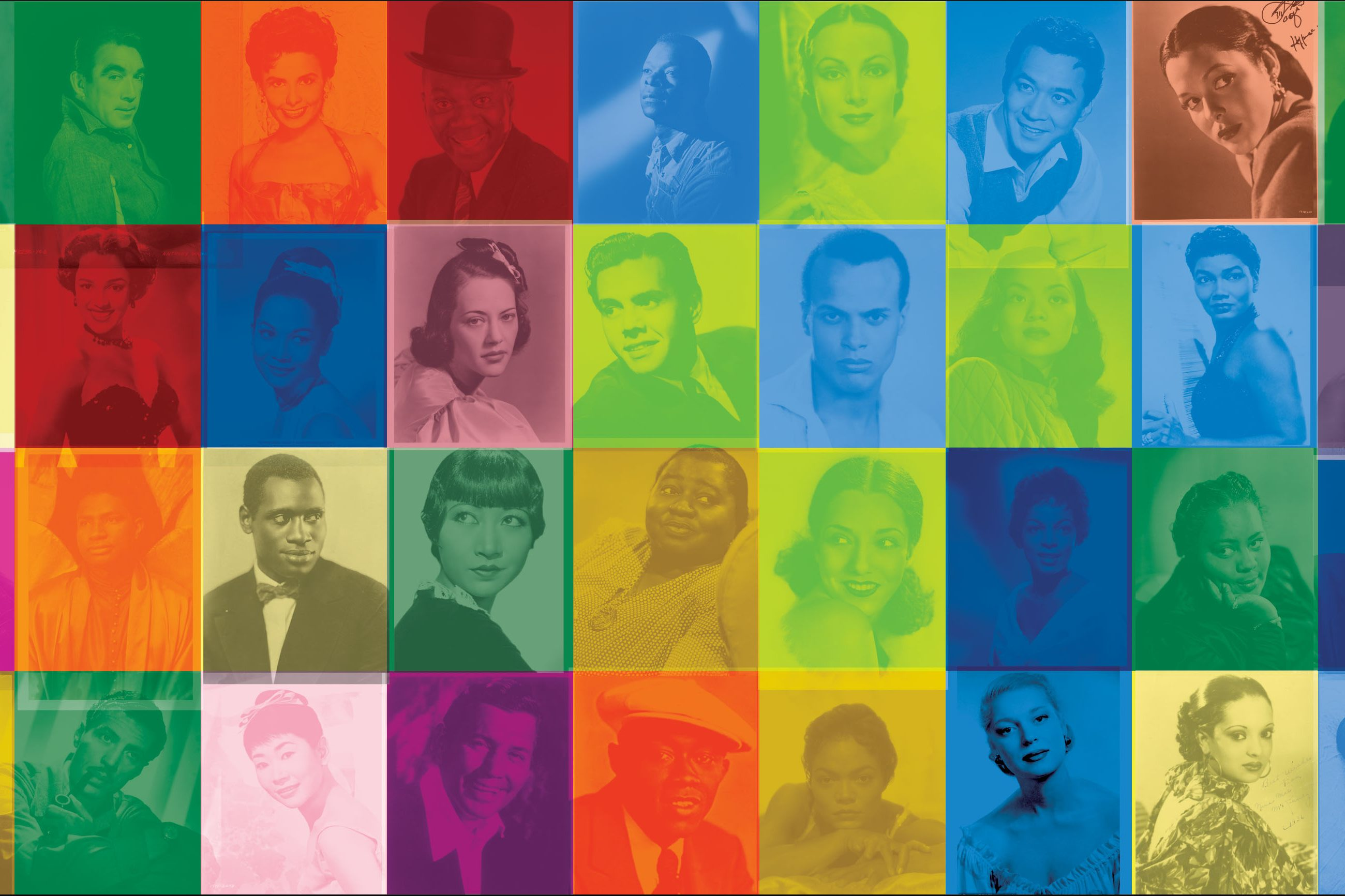 A UV print on retroreflective vinyl contains a grid of headshots of numerous individuals, all of the same size but each using a different, faded neon background color. Subjects are mostly dressed in dresses, tuxedos, suits, etc., with some facing the camera, some shot in profile, some looking into the lens, some not.