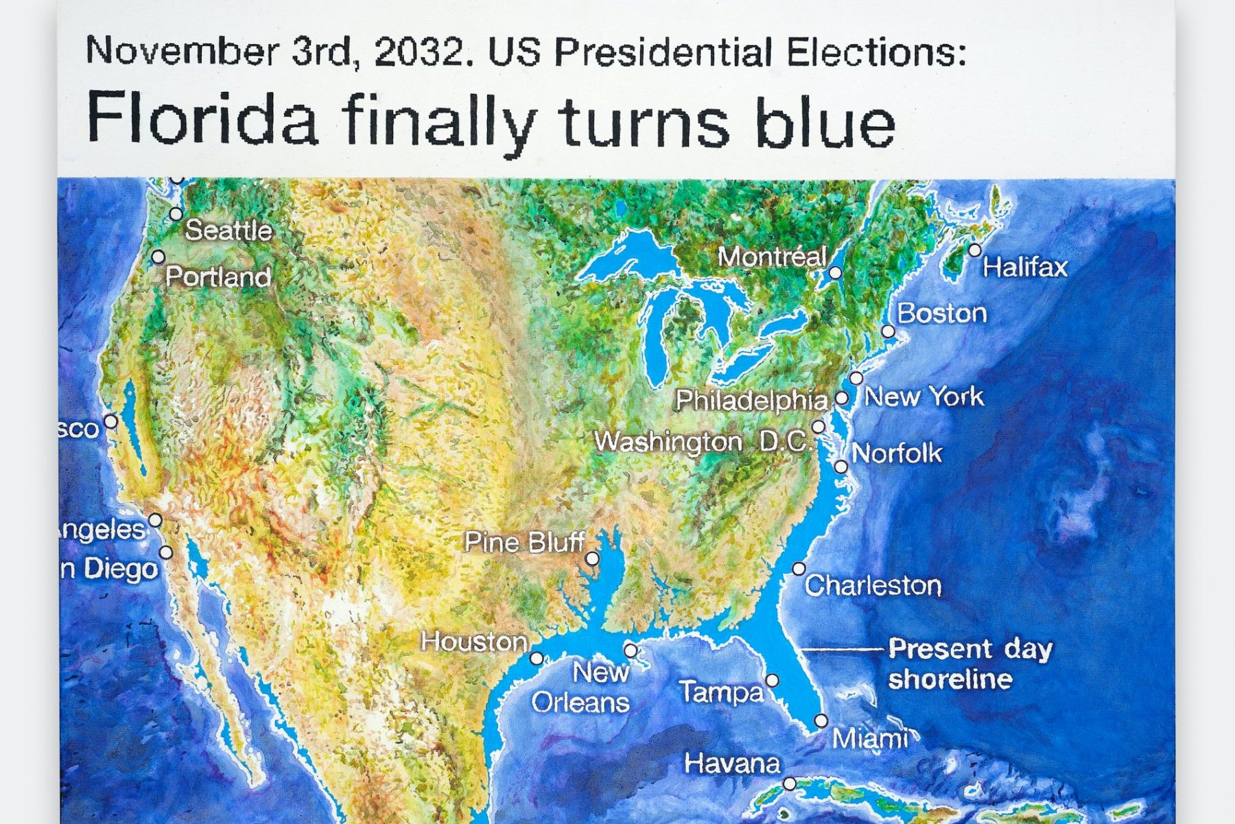 "a photorealistic painting resembling a digitally computed, topographical image of the United States, with the text above it reading ""November 3rd, 2032. US Presidential Elections: Florida finally turns blue,"" in reference to states along the southeastern coastline (i.e. Texas, Louisiana, Mississippi, Alabama, Georgie, Florida, and the Carolinas) that are visibly underwater."