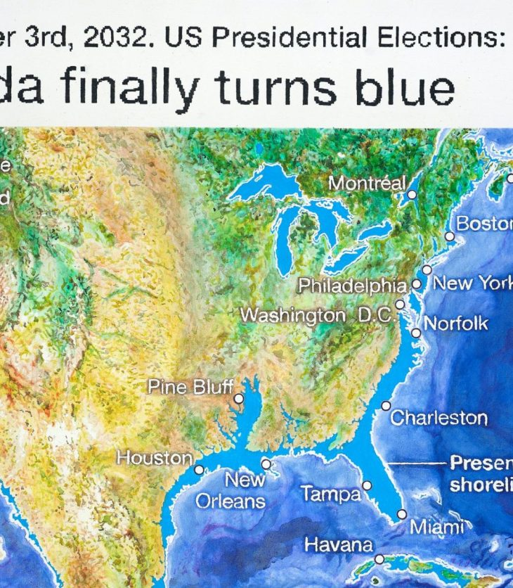 """a photorealistic painting resembling a digitally computed, topographical image of the United States, with the text above it reading """"November 3rd, 2032. US Presidential Elections: Florida finally turns blue,"""" in reference to states along the southeastern coastline (i.e. Texas, Louisiana, Mississippi, Alabama, Georgie, Florida, and the Carolinas) that are visibly underwater."""