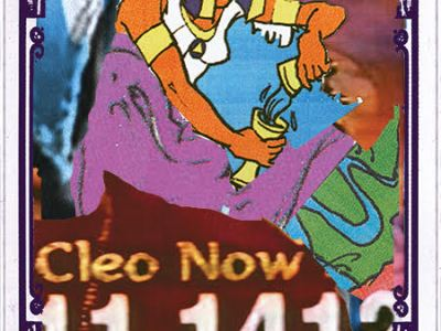 "A collaged image that resembles the Temperance card: an ancient Egyptian figure hurryingly pours one cup of water into another. Underneath their feet, the advertisement for Miss Cleo's number creeps up; the description for this card reads: ""The US Public Health Service began 'The Tuskegee Study of Untreated Syphilis in African American Male.'"""