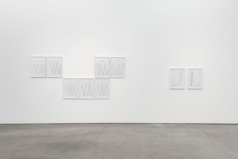 Nine graphite drawings on paper hanging on a white wall above a concrete floor. The rectangular frames are arranged like an undulating wave, some higher, some lower.
