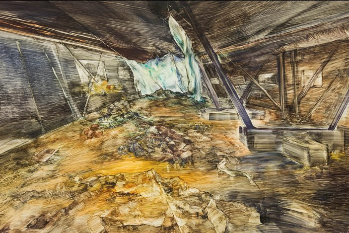 Watercolor painting using coarse, symmetrical strokes and distorted proportions disorients the viewer, from inside what seems to be an abandoned building. Palette is based in flattened, earthy colors.