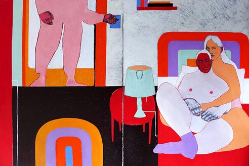 Two figures lean against a bed together, the one behind with their arms and legs wrapped behind the other. A figure stands in the doorway behind them and has their hand on the lightswitch. Only the three figures' hands and faces are detailed; the rest of their bodies are outlines and filled with pastel colors.