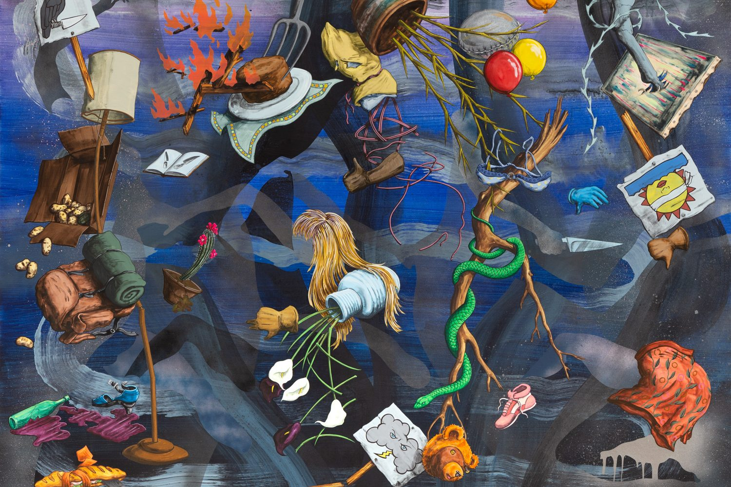In a flurry of motion and surrealist animation, this painting captures multiple dizzying happenings at once—potatoes tumbling out of a cardboard box, pink-colored wine spilling out of a broken bottle, a snake wrapping itself around a tree branch, a pitchfork impaling a cake, a wig, a shoe, balloons, so on.