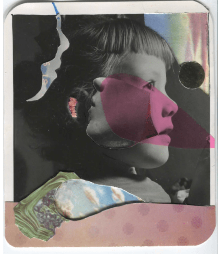 Photo of a young girl with short-cut bangs, with multiple fragments of images and cut-outs overlaid, including one in the shape of a face, another a section of a face, a splash of pink, and a portion of a photos of the sky.
