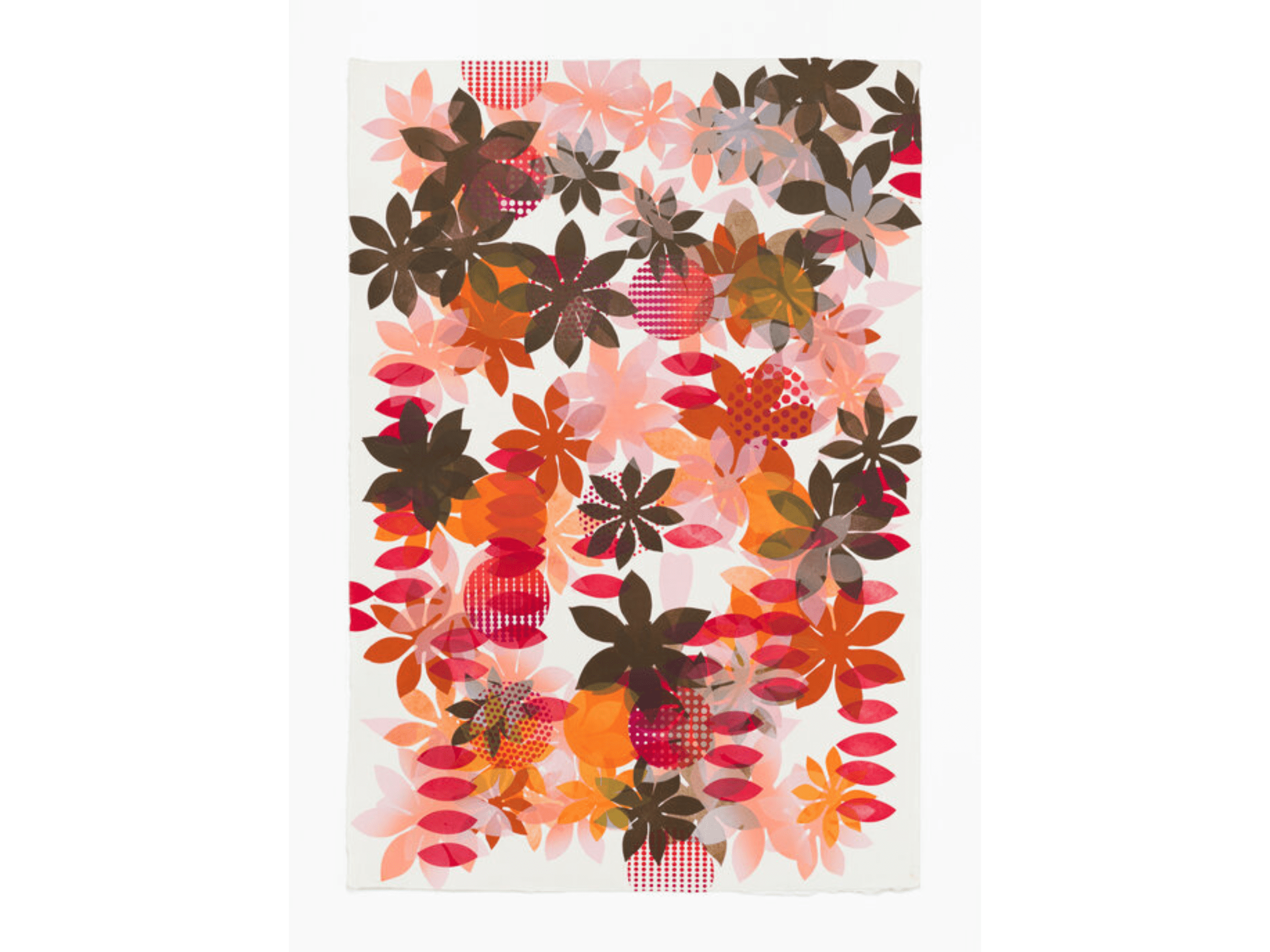 Overlayed floral shapes, colored using rich, earthly reds, browns, yellows, and pinks, blurring the line between two- and three-dimensional.