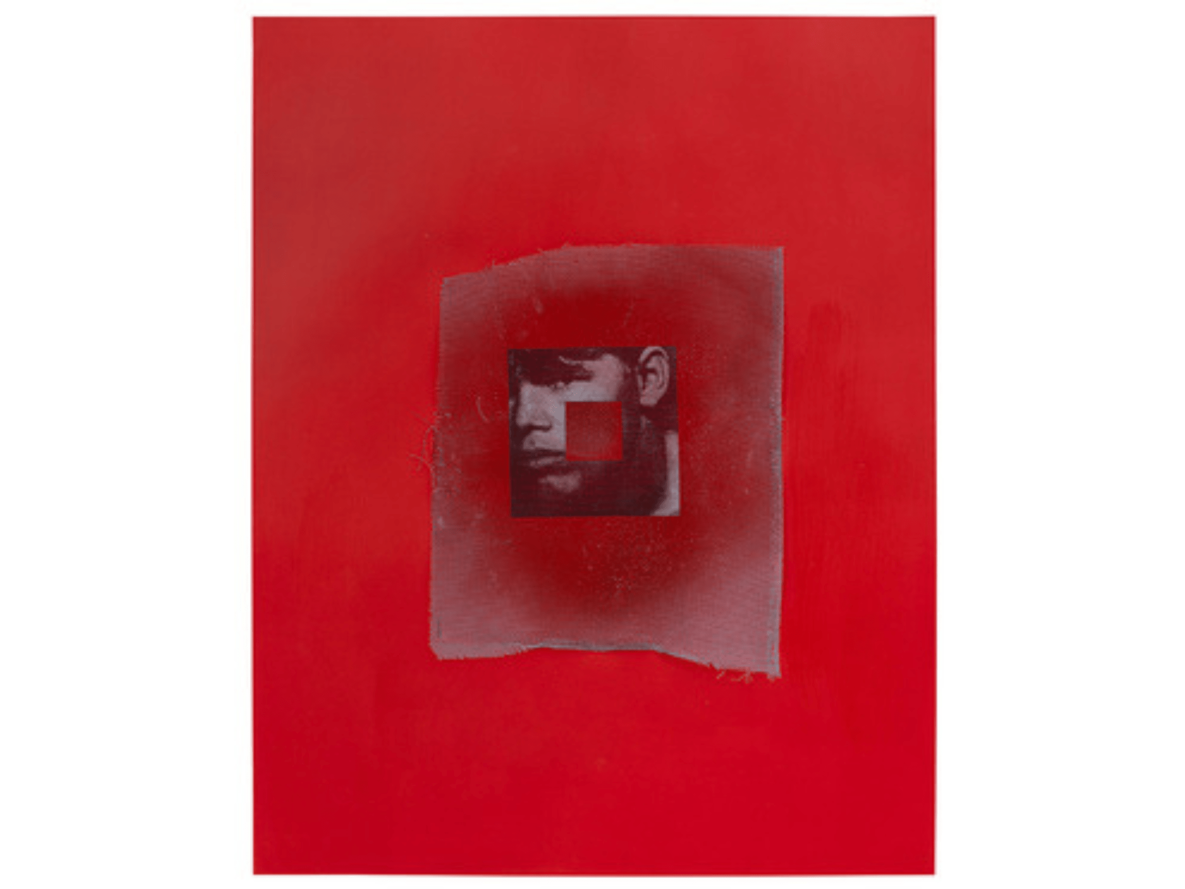 A square, black and white photograph of a boy's face with another square of red centered over it, all atop an aluminum screen painted red, against a red background.