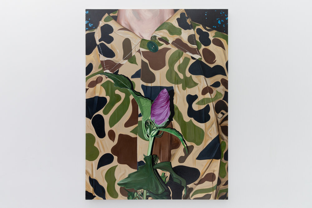 Photorealistic, bright painting of a man's chest—he wears a camouflage shirt, buttoned to the neck, and holds a pink flower just before him.