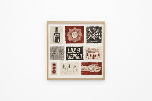 """Grid of two-dimensional images on paper, using primarily earthy red and black—a bottle of lotion, a sun with a face and closed eyes, the words """"LUZY VERDAD,"""" a one-story house, etc—hanging on a white wall."""