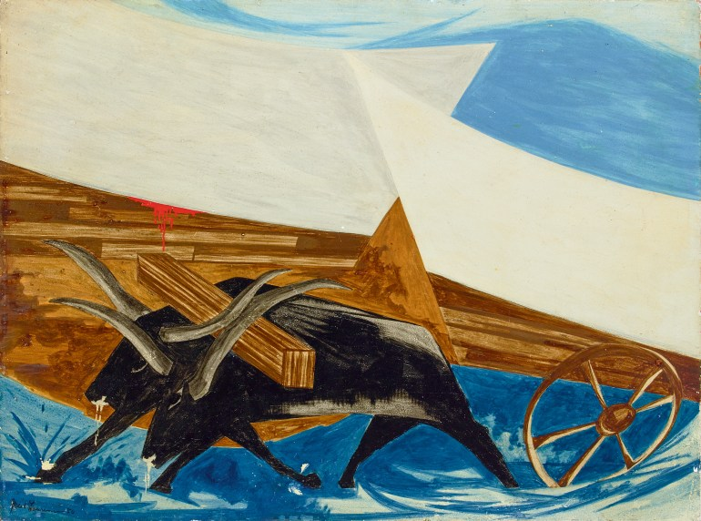 Two oxen, painted using swift and hard brustrokes, struggle to pull an old wagon through shallow blue water. Their noses drip from grunting. Blood oozes from wood panels.
