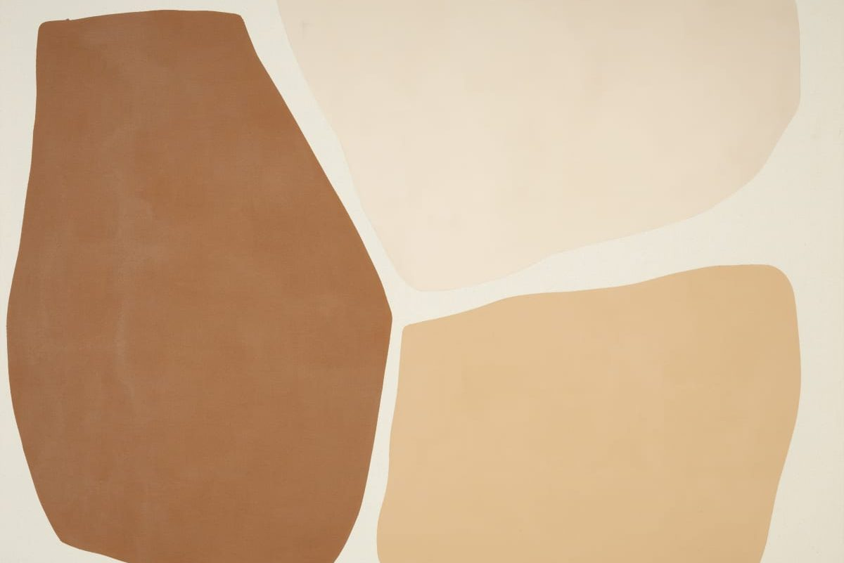 Three abutting, rectangular-ish shapes painted in soft and subtle shades of earthy brown bring skin, intimacy, and identity together in a play of tension—in this work, closeness is more a distance.