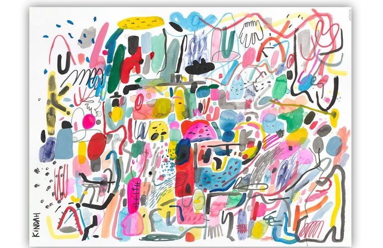 A colossal mass of brushstroke and shape, movement, color and sound. Squiggles and curves and blobs and clusters of dots and shapes of almost things crowd this white canvas.