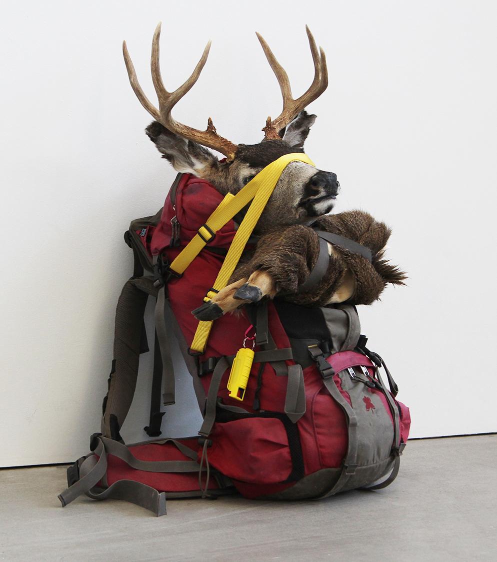 A red backpack leans against a white wall, the head and two legs of a deer strapped onto its exterior with yellow straps. Pepper spray dangles from a key ring.