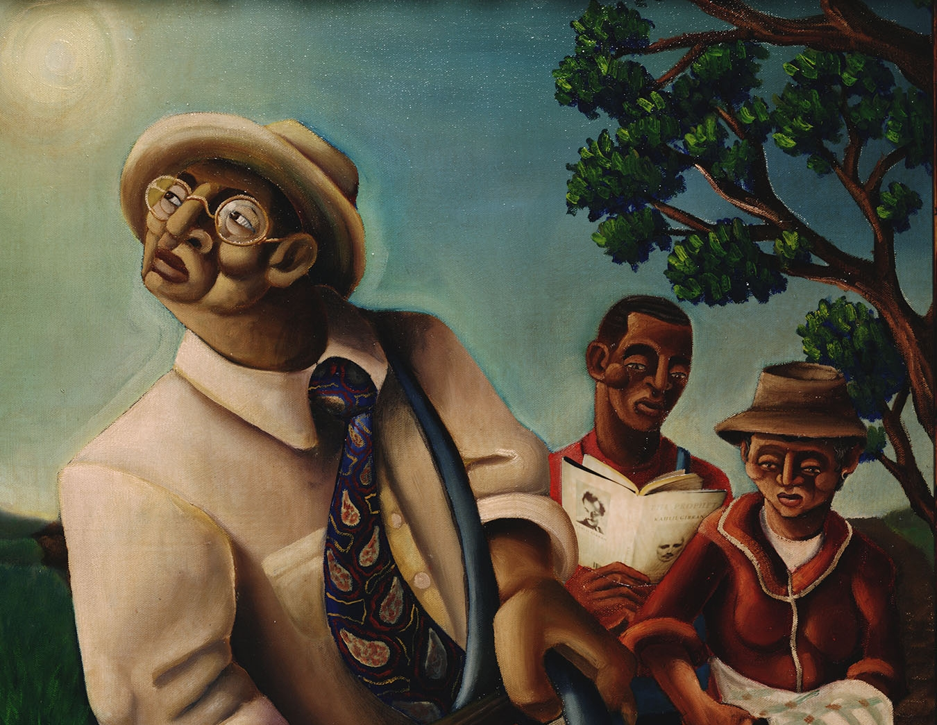 A figure wearing a white shirt, blue patterned tie, and white hat cranes toward the sun. Two figures beyond them and before a tree stare forward.