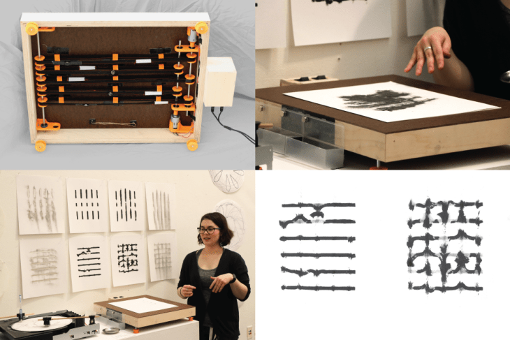A grid of four photos, each representing a step in the process of printmaking—the prints themselves blackish ink on white paper in blurred and distorted lines.