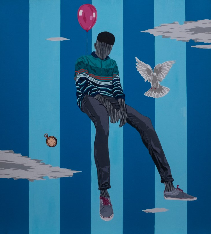 A person slouches, a balloon tied to its back, as it floats above the clouds. Nearby, both a stopwatch and a dove hover.