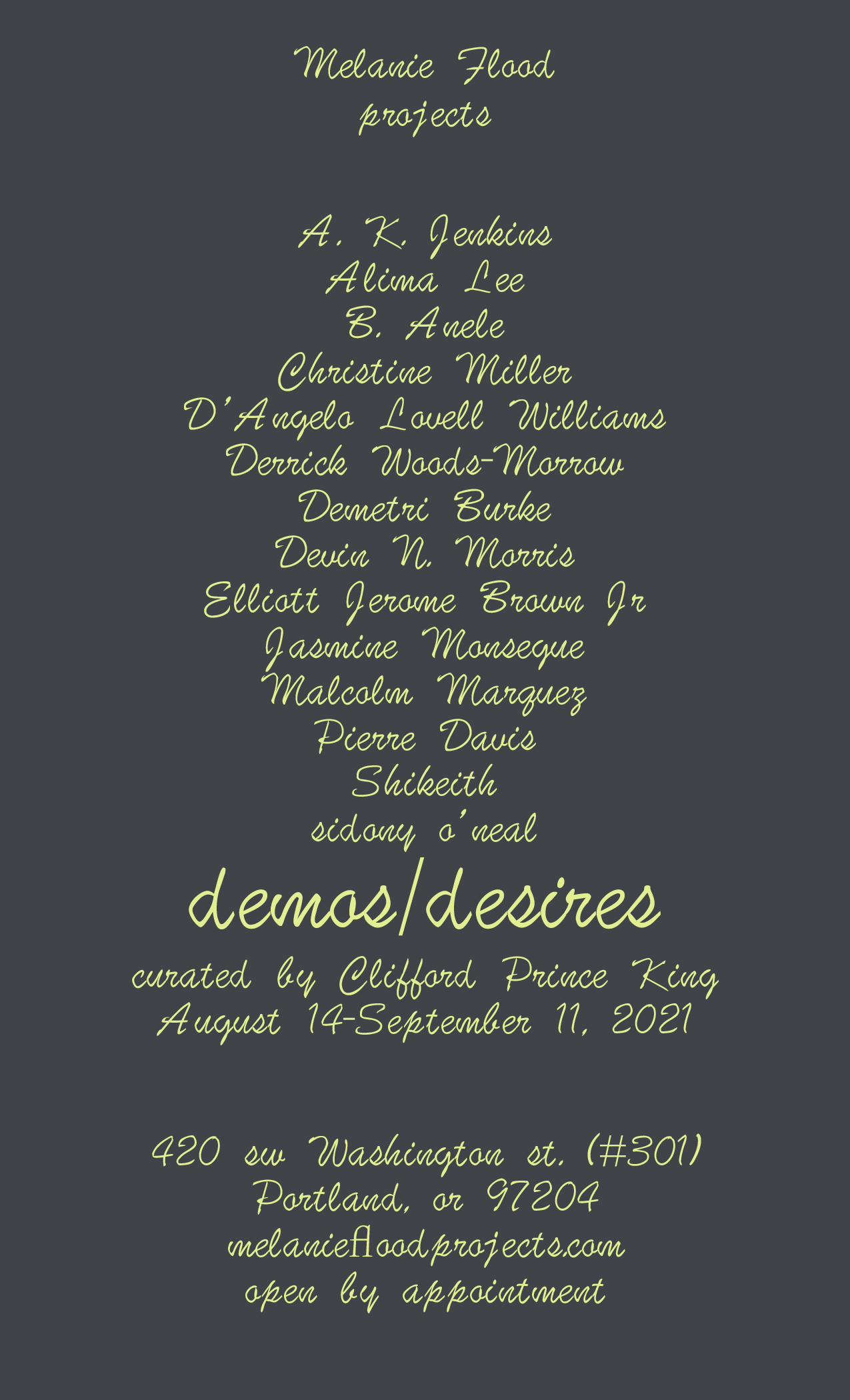 """The names of the art show """"demos/desires"""" are listed above the title in soft yellow, cursive font and centered against a grey background."""