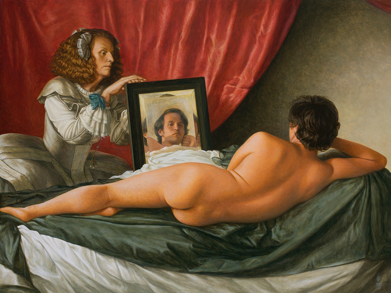 An individual lies on a couch, naked, with their back to the viewer—kneeling beside the bed, another holds a mirror, in which the first views themselves.