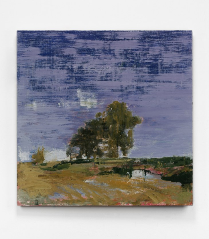 Hanging on a white wall, wide, decisive, and airy brushstrokes remember a huddle of trees beyond a dirt road and beneath a misty, yawning sky.