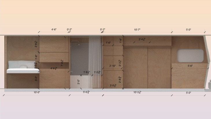 A blueprint or model of the interior of an RV, will all dimensions marked out and measured. All features are a soft wood or white: a bed, a shower, some cabinets.