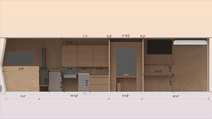 An extension of the previous model, this one featuring a sink, a stove, etc.