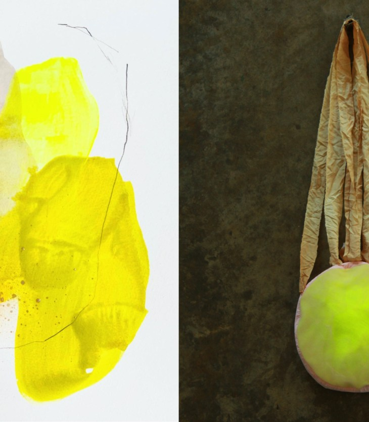 On the left, wide, blocky brushstrokes and splatters hint at the form of fruit. On the right, a green orb hangs from brown straps against a felt wall.