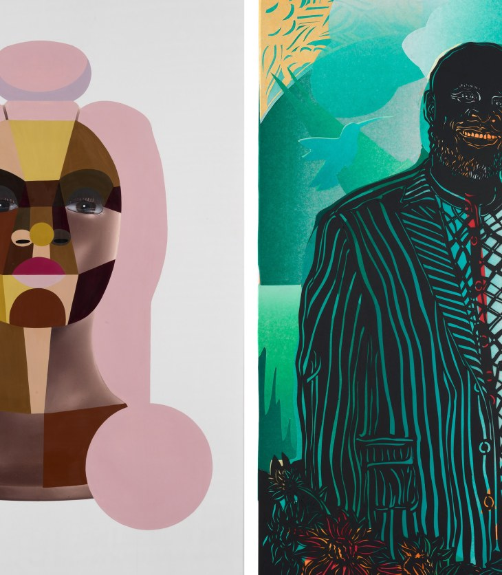 On the left, a geometric bust configured using sharp edges, earth tones, and all-seeing eyes hovers. On the right, a bald man in a black suit smiles, a dove near his shoulder and flowers at his waist.