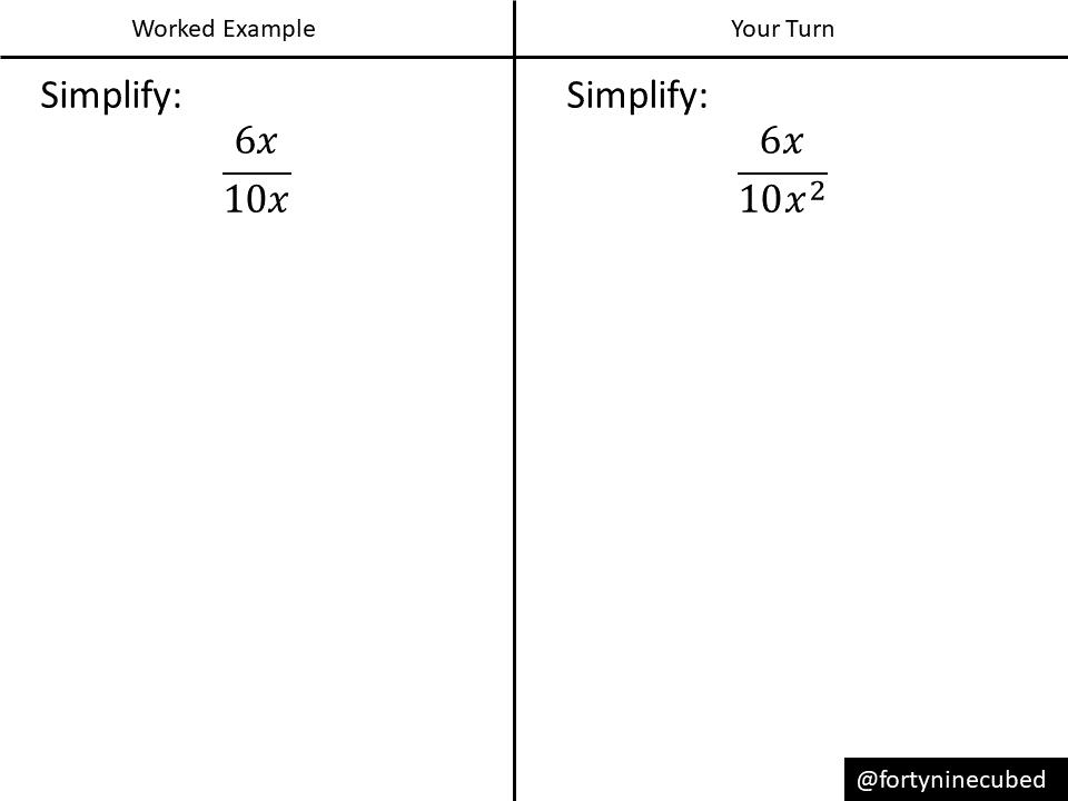 simplifying algebraic fractions basic  variation theory  exampleproblem pair