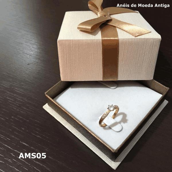 Anel Solitário de Moeda Antiga – AMS05