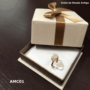 Anel de Moeda Antiga Coração com Zircônias – AMC01