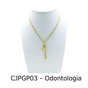 Conjunto Cordão e Pingente de Profissão Odontologia com Resina - CJPGP03