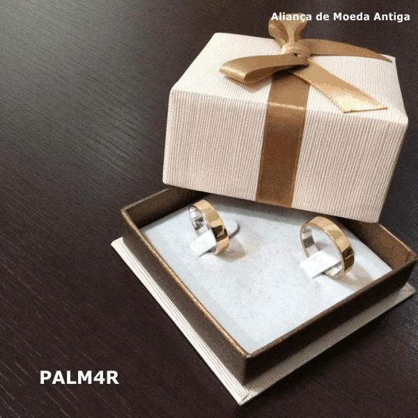 Par de Aliança de Moeda Antiga Reta 4MM com Revestimento em Prata – PALM4R
