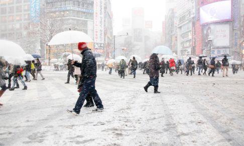 積雪している渋谷スクランブル交差点。