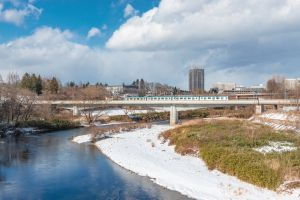 Winter scenery of the Sendai city and Hirosegawa river.