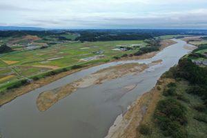 aerial photography of the nakagawa river in ibaraki prefecture.