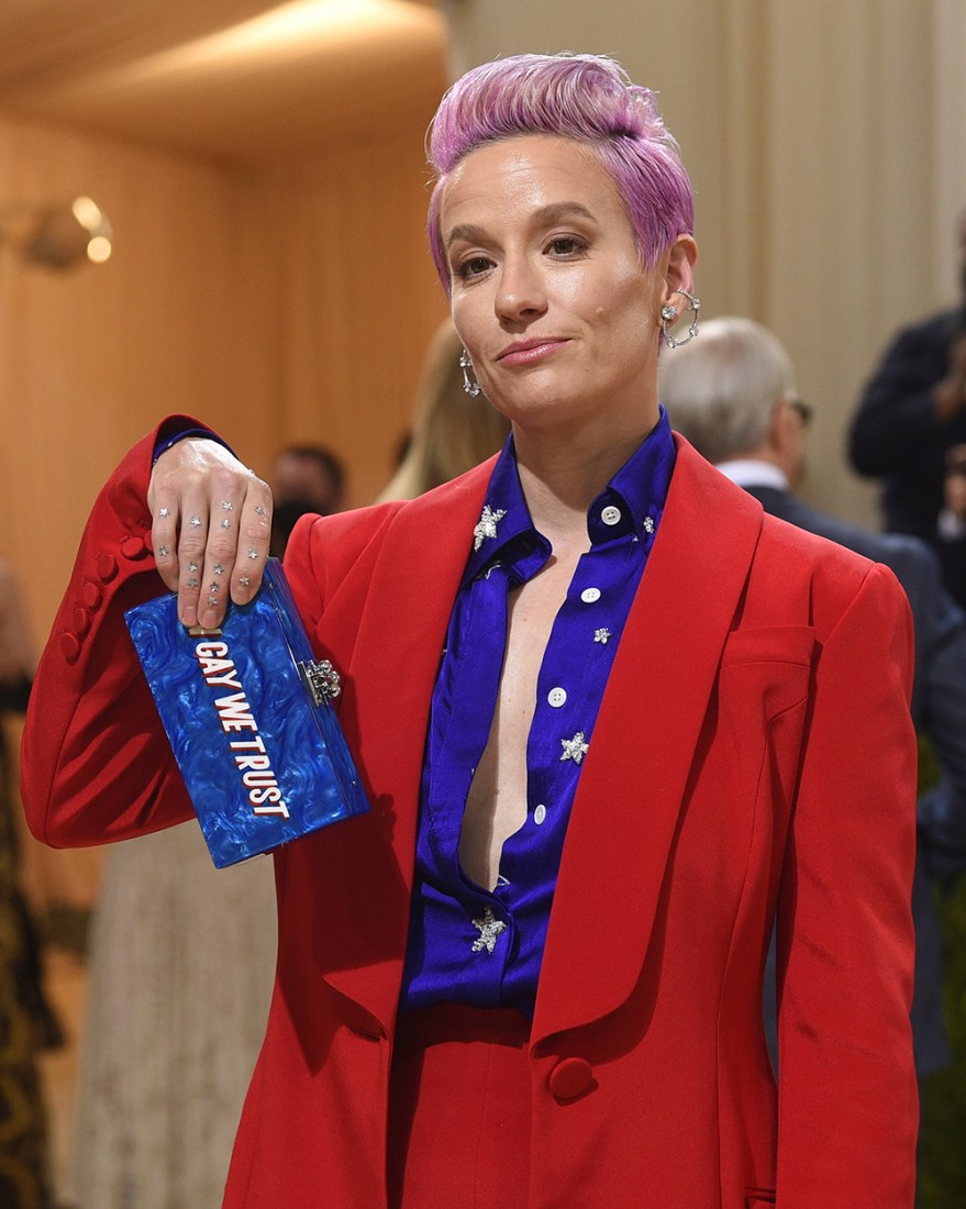 """Megan Rapinoe attends The Metropolitan Museum of Art's Costume Institute benefit gala celebrating the opening of the """"In America: A Lexicon of Fashion"""" exhibition on Monday, Sept. 13, 2021, in New York. (Photo by Evan Agostini/Invision/AP)"""