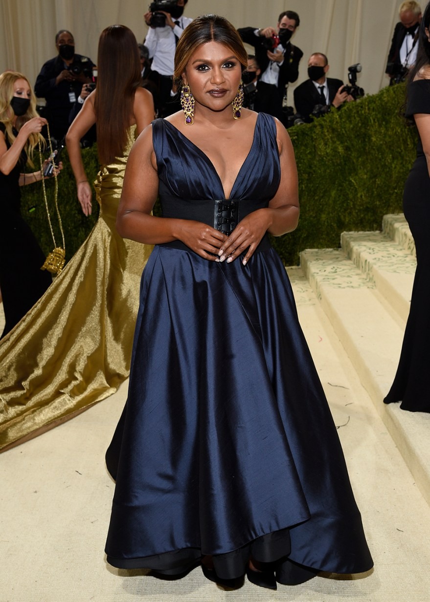 """Mindy Kaling attends The Metropolitan Museum of Art's Costume Institute benefit gala celebrating the opening of the """"In America: A Lexicon of Fashion"""" exhibition on Monday, Sept. 13, 2021, in New York. (Photo by Evan Agostini/Invision/AP)"""