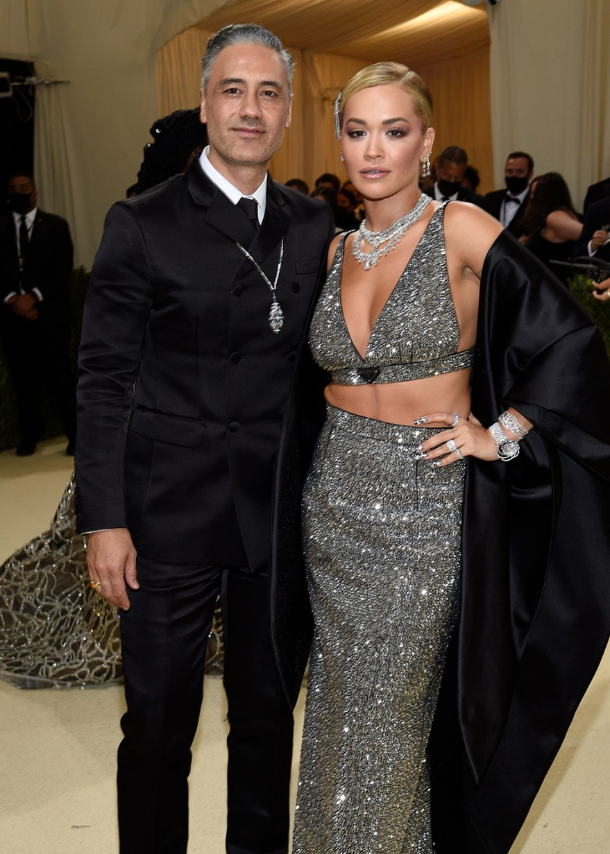"""Taika Waititi, left, and Rita Ora attend The Metropolitan Museum of Art's Costume Institute benefit gala celebrating the opening of the """"In America: A Lexicon of Fashion"""" exhibition on Monday, Sept. 13, 2021, in New York. (Photo by Evan Agostini/Invision/AP)"""