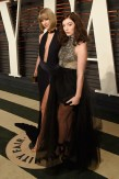 BEVERLY HILLS, CA - FEBRUARY 28: Recording artists Taylor Swift (L) and Lorde attend the 2016 Vanity Fair Oscar Party Hosted By Graydon Carter at the Wallis Annenberg Center for the Performing Arts on February 28, 2016 in Beverly Hills, California. (Photo by Larry Busacca/VF16/Getty Images for VF)