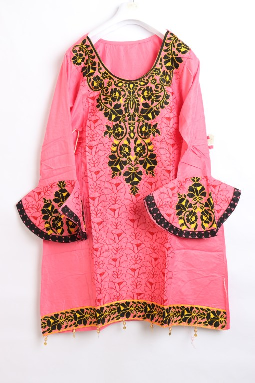 Pink Women Embroidered Linen stitched frock type shirts