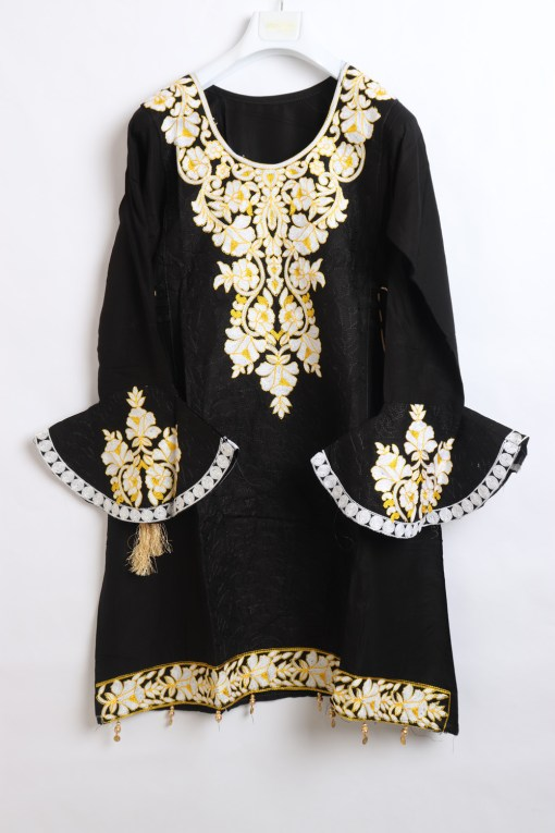 Black Women Embroidered Linen stitched frock type shirts
