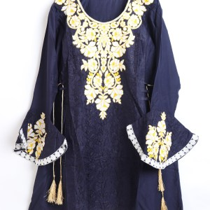 Navy Blue Women Embroidered Linen stitched frock type shirts