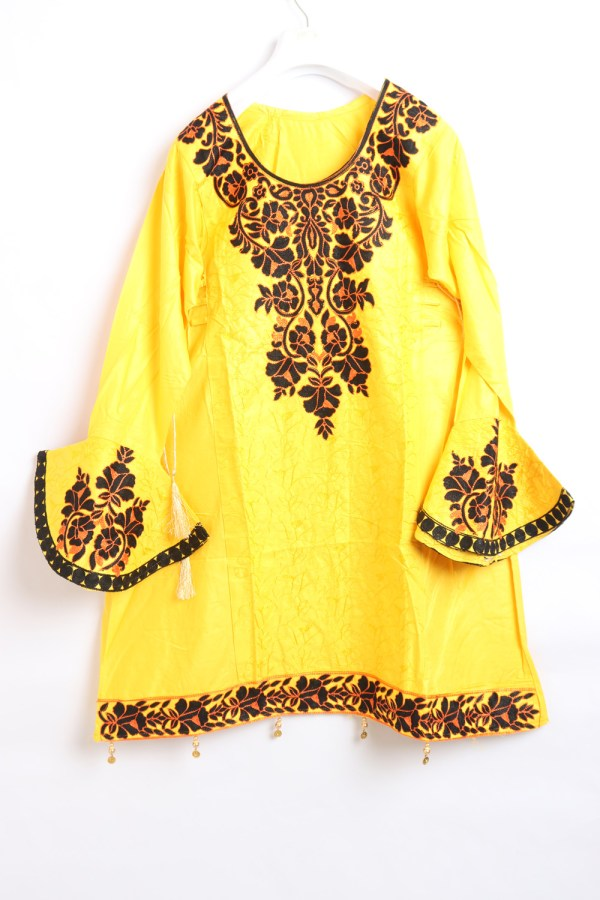 Yellow Women Embroidered Linen stitched frock type shirts