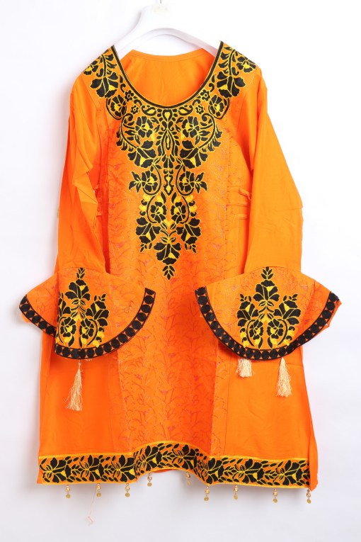 Orange Women Embroidered Linen stitched frock type shirts