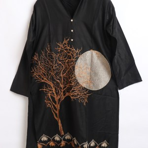 Digital Embroidered Linen stitched shirts for women 1003-1