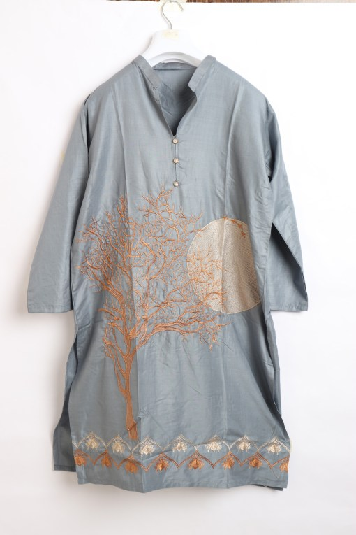 Digital Embroidered Linen stitched shirts for women 1003-3