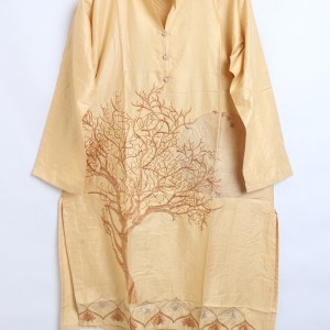 Digital Embroidered Linen stitched shirts for women 1003-5
