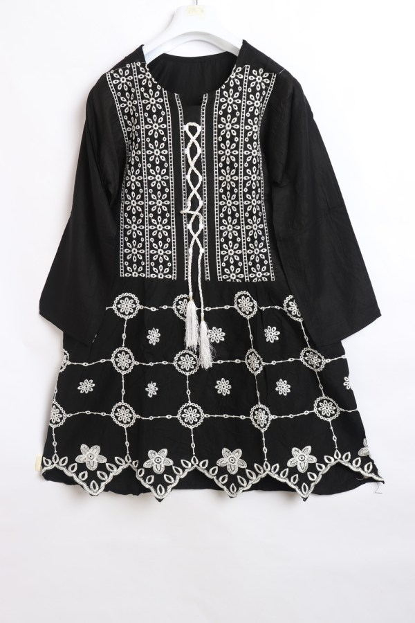 Classy Black Embroidery Linen stitched frock shirt for women latest winter collection 1006