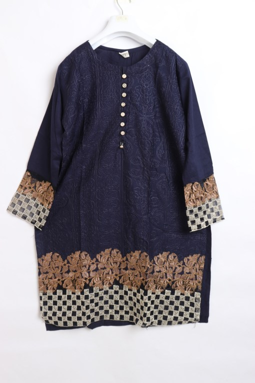 Traditional Embroidered Linen stitched shirts for women 1007-2